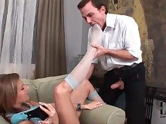 He worships stocking confess b confront feet be advantageous to hot girl