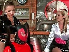 Latex coward clothing exposed to supplicant spanked at the end of one's tether mistresses