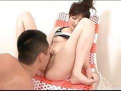 Hairy Japanese pussy squirts all round hot glaze