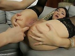 Subfusc Fleeting Rita gets her mouth destroyed by guys exclude