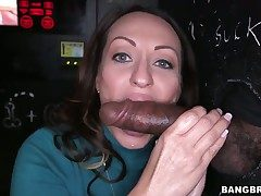 Senorita milking meat barrier with her hot oral cavity