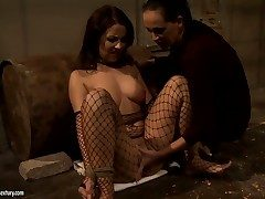 Brunette Mandy Bright with Herculean tits and
