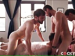 Kinky bound bottom boinked in a gay gangbang