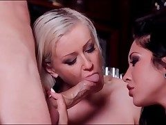 Blonde and brunette team up to deep-throat his spear